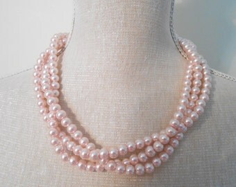 Pale pink multi strand plaited chunky beads pearl necklace, summer jewelry, Unique for wedding, Bridesmaid Gifts, daughter, Valentine's day