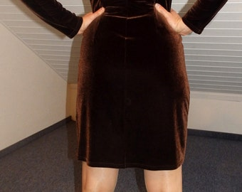 rostbraunes/goldenes Nicki langarm Samt Kleid rust brown / gold velvet turtleneck dress plush