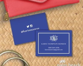 Worth Avenue Calling Cards - Monogram Personal Contact Cards - Personalized Mommy Cards - Personal Business Cards - Email Phone Card Set