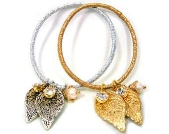 Gold Silver Leaf Double Crystal Rhinestone Pearl Elastic Hair Ponytail Holder Hair Tie Hair Rope Hair String Fashion Bracelet Girl Women New