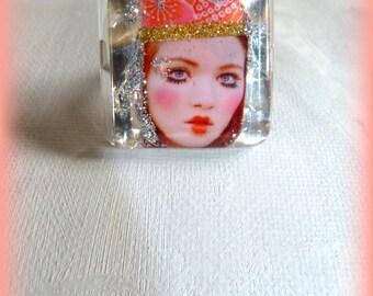 "Bohemian square ring portrait Doll ""Geisha"" Silver & rose-ring-adjustable-room single"