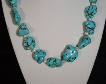 Turquoise nuggets with fresh water pearl.