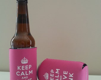 Keep Calm & Love Pink Bottle/Can Cooler Koozies BUY 2 GET 1 FREE!
