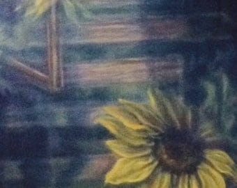Summer Reflections ~matted print from original oil painting of sunflowers