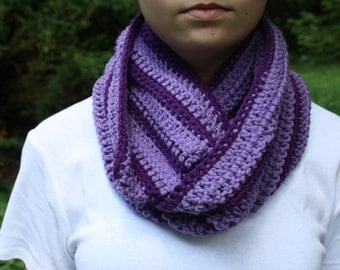 Purple Striped Crochet Cowl