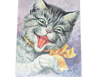 Cat Postcard / Arthur Thiele Clown Cat / You Can't Fool Me /Thiele Postcard / Vintage Postcard