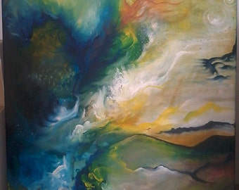 "THETAMORPHOSIS - Abstract Painting Acrylic on Canvas 40""X 24"""