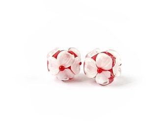 Lampwork Beads, Handmade Lampwork Glass Bead Earring Pair, Handmade Glass Beads, Murano Glass, Floral Glass Beads, White, Red