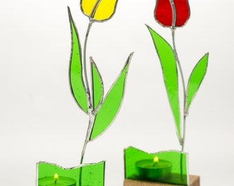 Stained Glass Tulip Suncatcher/Tealight Candle Holder