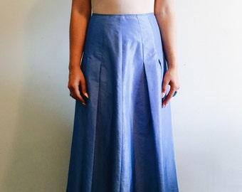 Vintage Periwinkle A-Line Midi Skirt