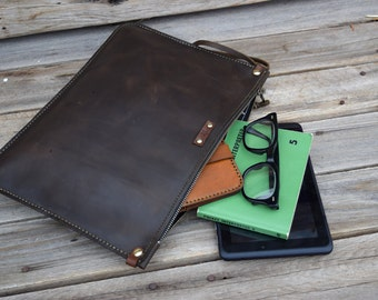 Leather Portfolio / Handmade Leather Pouch / Mens Zipper Bag /