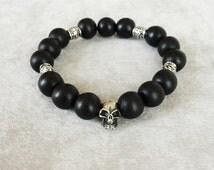 Goth Skull Sterling Silver bracelet, Men's Bracelet,  Gift for him, Black Wood Beaded bracelet for him, Gift for biker