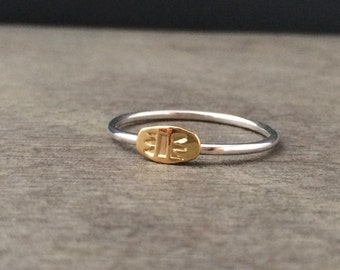 22k solid gold and sterling silver stacking ring - made to order - gold stack ring - unique ring - boho ring