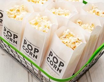 Popcorn Favor Bags - Wedding Favor idea - Rustic Gold Design - Popcorn Favors  - Custom Names and Date - 25 Popcorn Bags in each Pack