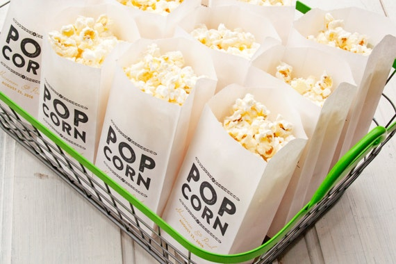 Popcorn Favor Bags Wedding Favor Idea Rustic Gold Design