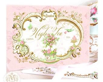 High tea, invitations, English, vintage tea party, London, gold, pink, mint green, macaron, shower tea, birthday party, shower tea