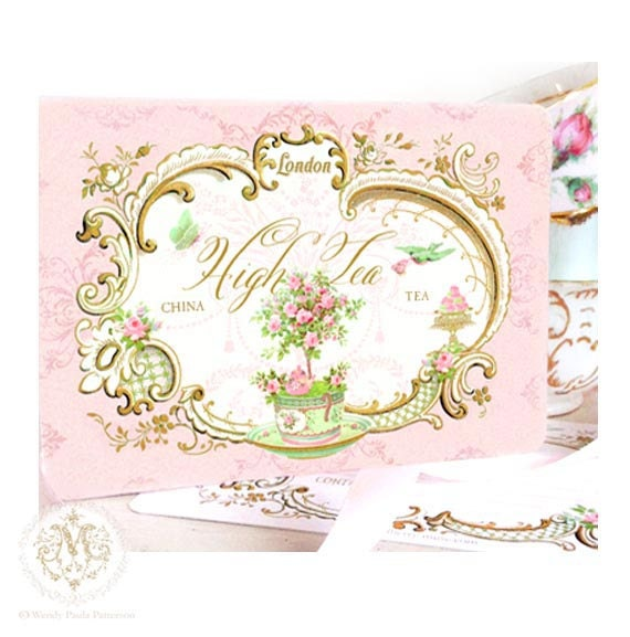 High tea invitations English vintage tea party London