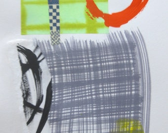 """HAIKU l  mixed media collage and painting on paper 18"""" x 12"""""""