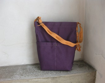 Canvas Tote Bag, Purple Canvas Bag, Canvas Handbag, Shoulder Bag, Side bag, Leather Canvas Bag, Leather Strap Bag, Summer Bag, Canvas Hobo