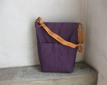 Canvas Hobo Tote Bag Natural color Leather Strap