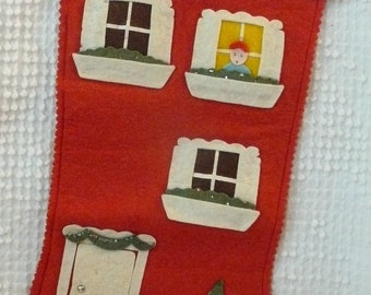 Vintage felt stocking from 1958 - decorated like a house with windows and door - cute