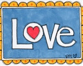 "ACEO Original Illustration - Artist Trading Card - Folk Art - Cute Whimsical - 2.5"" X 3.5"" - Love Note"