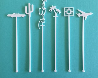 Palm Springs Party Drink Stirrers - Set of 6 Laser Cut Acrylic Stir Sticks