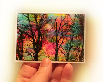 Gift under 15, Cotton candy, ACEO, ATC, Orginal, art, photography, nature, Fine art photograph, miniature, trees, Bare trees, tree art