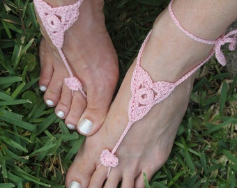 Crochet Barefoot Sandals Knit Anklets Beach Wedding Foot Jewelry Lace Barefoot Shoes Bridal Accessory Foot Thongs Yoga Footless Sandals