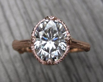 Oval Moissanite Branch Engagement Ring: White, Yellow, or Rose Gold; 2.1ct Forever One ™
