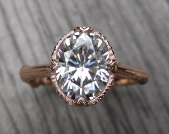 Oval Moissanite Branch Engagement Ring: White, Yellow, or Rose Gold; 2.1ct Colorless Forever One ™