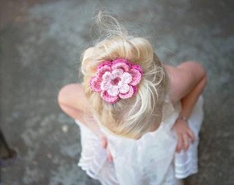 Pink Hair Clip Crochet Flower Hair Clip Pink Flower Clip Hot Pink Hair Clip Pink Light Pink Hair Clip Hot PInk Flower Pink Light Pink Flower
