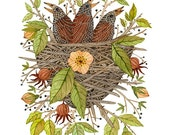 Nestlings in Rose Bramble Print, baby birds, birds nest, bird art, giclee print, nursery art, childrens art, illustration