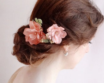 flowers for hair, coral pink hair flower, bridal hairpiece, wedding headpiece, bridal hair accessories, coral and gold, Swarovski pearls