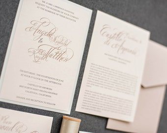 Dusty Rose and Blush Pink Calligraphy Wedding Invitation   Nude and Silver Pocket Wedding Invitation   Angela and Matthew