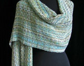 Handwoven Shawl Bamboo Wrap Ships Priority Mail Free in USA Handmade Scarf Wrap by FiberFusion Blue Green Unique Gift for Her - Aqua Pool