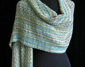Handwoven Shawl Bamboo Wrap Ships Priority Mail Free in USA - Aqua Pool