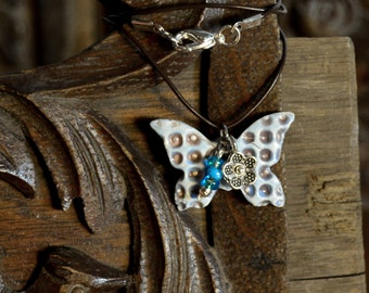 Butterfly Pendant Blue Ceramic Necklace