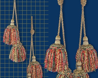"""Two Full, 5"""" Tassels with 25"""" Tieback Cord - Part of a Set - Each Part Sold Separately"""