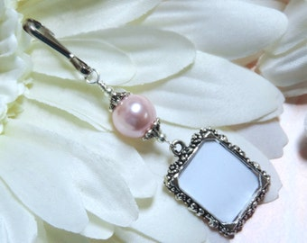 Wedding bouquet photo charm with pink pearl. Memorial photo charm. Bridal bouquet charm. Photo jewelry. Gift for the bride.