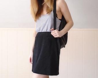 90s Black Faux Micro Suede Mini Pencil Secretary Skirt - SMALL MEDIUM S M