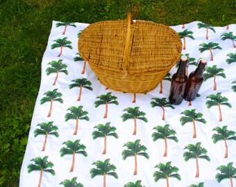 Palm Trees Picnic Blanket, ORGANIC Picnic Blanket, Waterproof Beach Blanket, Eco Friendly, Roll-Up Blanket