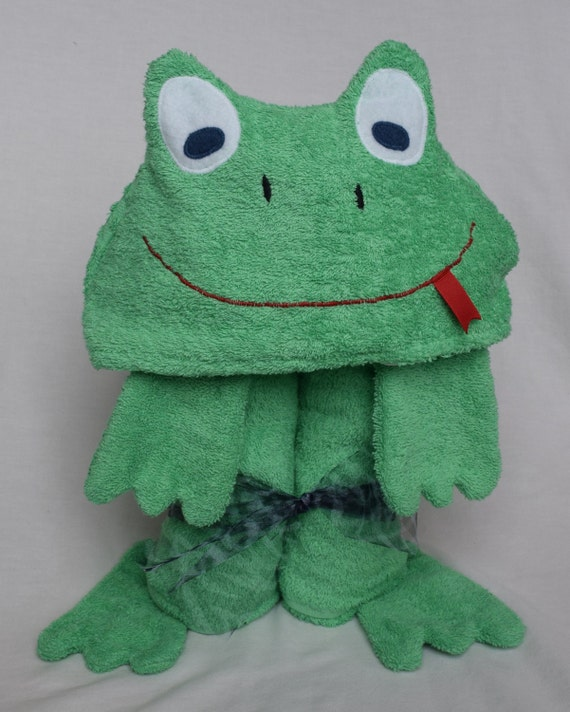 Green Frog Hooded Tubby Towel - Great Birthday Present - Bath, Pool or Beach for Infant Toddler or Child
