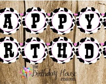 Farm Friends Party - Custom Cow Happy Birthday Banner by The Birthday House