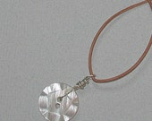 Mother-of-Pearl Wire-Wrapped Button Necklace