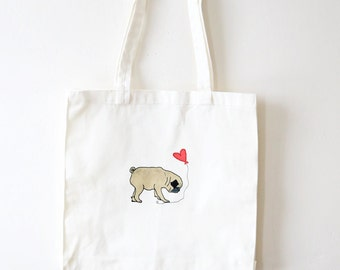 Pug In Love Tote Bag - Pug Tote Bag - Gift for Her - Romantic Gift - Pug Valentine's Day Gift - Christmas Gift for Dog Lovers