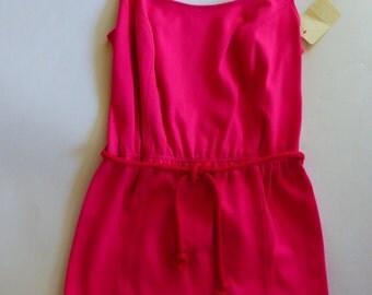 MOD 1960s One Piece Swimsuit Malliot Neon Pink w Belt SZ S