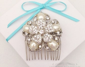 SALE Pearl with Rhinestones Flower on a Silver Wire Hair Comb