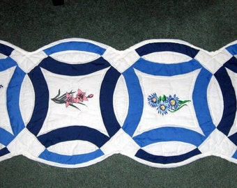 Table Runner Made From Vintage Double Wedding Ring Quilt with Machine Embroidery