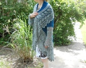 teal and gray lace shrug, womens size 3X to 5X large, bohemian sweater, wedding bride gift wrap